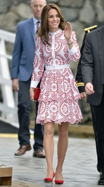 While traveling in Canada, Kate Middleton wore this stunning Alexander McQueen dress. That print is so eye-catching and we adore those red heels.