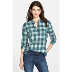Treasure&Bond Plaid High/Low Popover Top ($68) ❤ liked on Polyvore featuring tops, green ultra home check, blue plaid shirt, plaid top, net shirt, side slit shirt and tartan shirt