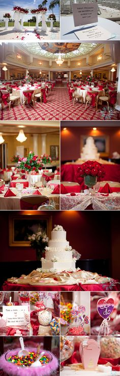 #red #gold #candy table #wedding details!