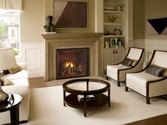 Heat and Glo TRUE Series Gas Fireplaces. Clean look with a wide opening.