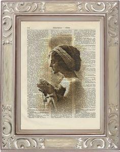 Vintage+LADY++i214++Kunstdruck+antike+Buchseite+von+Vintage+Prints+auf+DaWanda.com