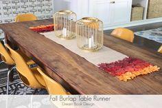 Fall Burlap Table Runner {No-sew!} by Dream Book Design