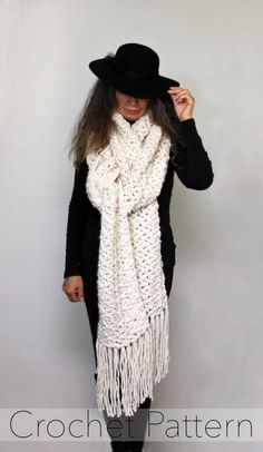 Diy Crafts - Ravelry: Frostbite Super Scarf pattern by Bernadette Prokopetz Chunky Crochet Scarf, Crochet Scarves, Crochet Clothes, Crochet Hats, Scarf Knit, Crochet Cross, Crochet Blankets, Crochet Shrug Pattern, Easy Crochet Patterns
