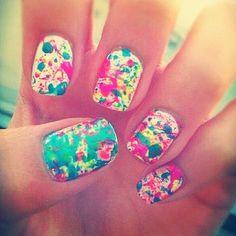 Splatter paint nails.