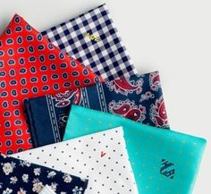 bits of freshness--> Monogrammed pocket squares, from J.Crew -- menswear accessories