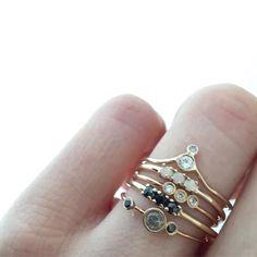 14kt Gold Sapphire & Champagne Diamond Arc Ring