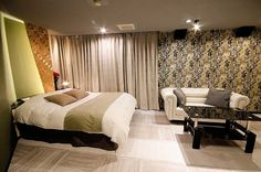 Room [323] HOTEL 41AV ANNEX Hotels 41av Group - 福岡市近郊 ラブホテル 41av グループ Annex, Curtains, Home Decor, Blinds, Decoration Home, Room Decor, Draping, Home Interior Design, Picture Window Treatments
