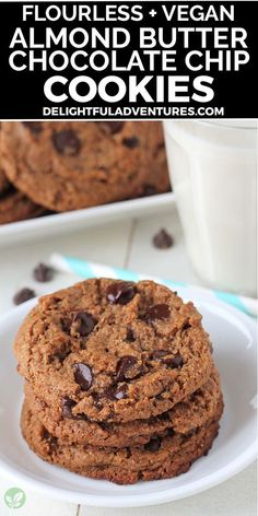 Soft, chewy, eggless & flourless vegan almond butter cookies that are extremely easy to make and also gluten-free! These simple cookies are packed with chocolate chips, and are ready in just 20 minutes! Vegan Snacks On The Go, Healthy Vegan Desserts, Vegan Dessert Recipes, Vegan Sweets, Vegan Recipes Easy, Vegan Food, Snack Recipes, Almond Butter Cookies, Butter Chocolate Chip Cookies