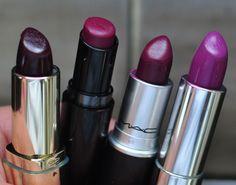 Swatches of purple lipstick - Milani Black Cherry, Wet n Wild Sugar Plum Fairy, MAC Rebel, and Maybelline Violet Intrigue.