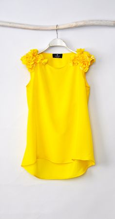 Yellow  Blouse, Loose Blouse on Etsy, $50.88