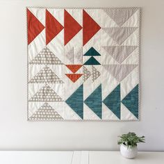 """""""This commissioned flying geese wall quilt is currently en route to its new home...and more details about it are up on the blog this morning! saltyoat.com"""""""
