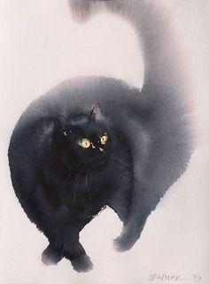 Les aquarelles de chats de Endre Penovac  Dessein de dessin