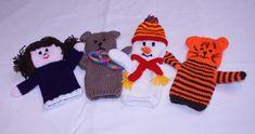 Princess, Teddy Bear, Snowman and Tiger hand puppets Hand Puppets, Glove Puppets, Finger Puppets, Christmas Knitting Patterns, Knitting Patterns Free, Loom Knitting, Baby Knitting, Bear Toy, Teddy Bear