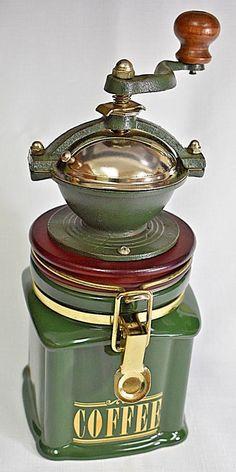 3d171e46efd London Pottery Green Coffee Mill Grinder Jar By David Birch Vintage Retro  60s