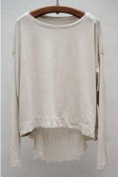 Basics Long Sleeve Reversible Cocoon — Dirty White