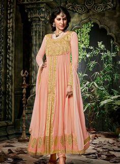 Designer Indian party wear georgette kalidar suit in Peach  G15133