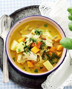 Dejlig suppe med karry og kylling.