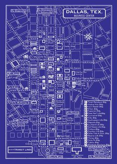 A tourist guide map of downtown dallas in 1964 how many places do 1949 vintage map of downtown dallas blueprint map print poster malvernweather Image collections