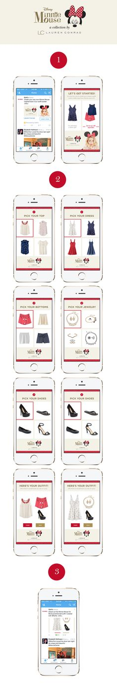 An outfit builder showcasing Lauren Conrad's Minnie Mouse capsule wardrobe for Kohl's. This app was built and executed by Twitter with an open design template. It was fun to have a lot of creative freedom with a project like this!