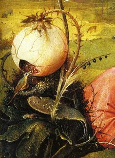 1480-1490 Hieronymus Bosch The Garden of Earthly Delights, Paradise imaginary, birds and fruit detail