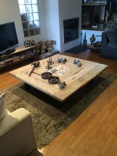 mesa de centro de madera reciclada