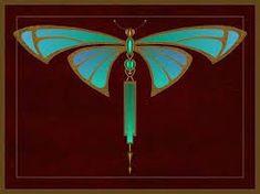 Art nouveau Dragonfly - beautiful, but it's Deco, not Nouveau - Leigh Motifs Art Nouveau, Azulejos Art Nouveau, Design Art Nouveau, Motif Art Deco, Bijoux Art Nouveau, Art Nouveau Pattern, Art Nouveau Tiles, Art Nouveau Jewelry, Art Design