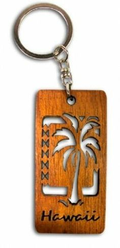 Hawaiian Key Chain Laser Cut Wood Keychain Hawaii Palm Tree by Buns of Maui. $6.99. Hawaiian Novelty Souvenirs make a great gift for that special someone!. Hawaiian Laser Cut Wood Key Chain. Measures approximately 1.25 in. wide by 2.75 in. long.