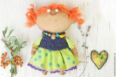 """Купить """"Сказки осени"""" Авторская кукла - салатовый, Рыжая, рыжая девочка, авторская кукла, кучеряшка"""