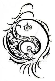 Chinese dragon with ying yang tattoo design tatoos pinterest chinese - Tatouage ying yang ...