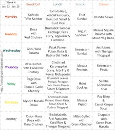 Week 47 Menu Plan in our Weekly Menu Planner is simple, sattvic and purely vegetarian. It is curated by Anjana ji of 'Maayeka'. Weekly Menu Planners, Meal Planner, Monthly Menu, Personal Planners, Vegetarian Menu, Vegan Menu, Healthy Weekly Meal Plan, Menu Printing, Planning Budget
