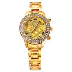harwish Damen-Quarz-Uhrwerk mit Diamant Fall Edelstahl Band Armbanduhr Gold - http://uhr.haus/harwish/harwish-damen-quarz-uhrwerk-mit-diamant-fall-band