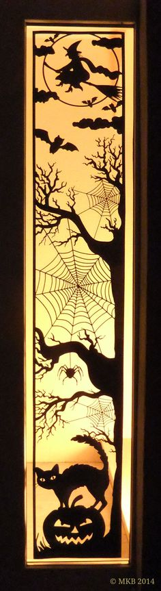 free DIY svg Halloween long window/door panel scene vinyl project (ideal to make use of that mat-less 10 FEET long cutting ability of the Silhouette Cameo or scale down and use as a topper.