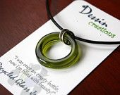 WINE Bottle Necklace, Recycled Glass Necklace, GREEN Glass, Upcycled Jewelry, Dessin Creations
