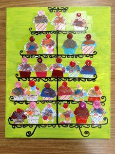 groepswerk: etagere met cupcakes Verjaardagskalender? Alle kinderen op volgorde van hun verjaardag op de etagere van boven naar beneden.