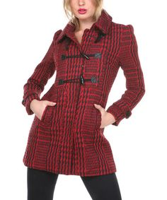 Loving this Red & Black Plaid Toggle Jacket on #zulily! #zulilyfinds