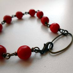 Telling in Red  Czech glass and antique brass by JennyBunny, $18.00