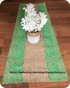 Beautiful Rustic Burlap Lace Table Runner with Emerald Green