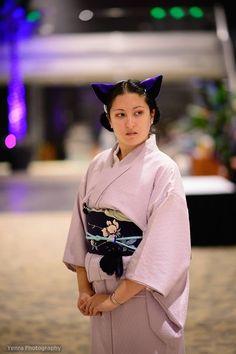 Nekocon, 2013, komon with nagoya obi and cat ears.