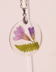 Real Fern Flowers Necklace Round crystal resin pendant
