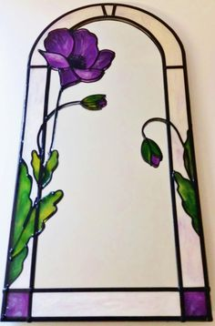 A bespoke Art Nouveau ~ Tiffany inspired Purple Poppy ( leaded, arched mirror. Designed and made by Douglas Payne - Stained Glass Mirror, Tiffany Stained Glass, Stained Glass Flowers, Tiffany Glass, Stained Glass Designs, Stained Glass Panels, Stained Glass Projects, Stained Glass Patterns, Glass Mirrors