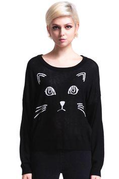 Knitted Cat Face Print Black Jumper #ROMWE