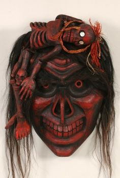 Beau Dick Bukwus Mask with Hamatsa Skeleton Figure