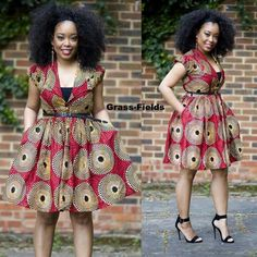 Nuju African short dress, knee length, african clothing, african dress, the… Short African Dresses, Latest African Fashion Dresses, African Print Dresses, African Prints, Ankara Fashion, African Inspired Fashion, African Print Fashion, Africa Fashion, African Attire