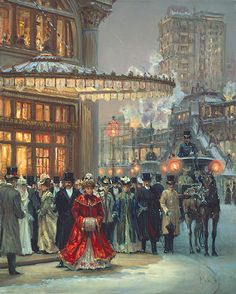 """Alan Maley artist (1931-1995). Depiction of NYC during the Gilded Age era. """" Evening Performance""""."""