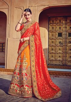 Orange & Red rajasthani embroidery work designer lehenga choli