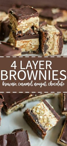 These brownies have four mouthwatering layers! With caramel, nougat and lots of chocolate this salty sweet combo is a brownie lover's dream.