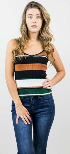 Black, white, green, orange, rust, color block 90s vintage, spaghetti strap, tank top // The Copper Closet, fashion, boutique, clothing, affordable, style, woman's fashion, women fashion, online shopping, shopping, clothes, girly, boho, comfortable, cheap, trendy, outfit, outfit inspo, outfit inspiration, ideas, Jacksonville, Gainesville, Tallahassee Florida, photo shoot, look book, online shopping, sale