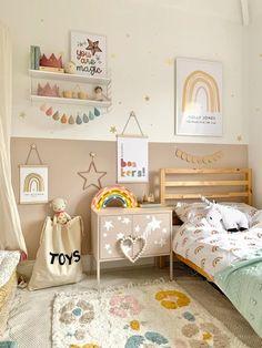 Girls Dusky Pink Kids Bedroom Re-Design Makeover – The Little Jones Dusky Pink Bedroom, Rainbow Bedding, Hanging Frames, Pink Kids, Moving House, Wooden Decor, Wall Storage, Ikea Furniture, Bed Styling
