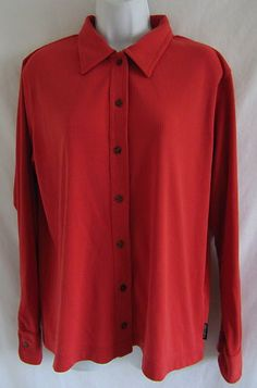 THE NORTH FACE Ribbed Orange Button Down L Shirt Top Long Sleeves Size Large