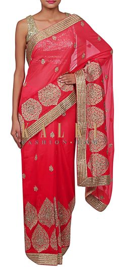 Buy Online from the link below. We ship worldwide (Free Shipping over US$100) http://www.kalkifashion.com/shaded-saree-adorn-in-pink-and-peach-embellished-in-zari-embroidery-only-on-kalki.html